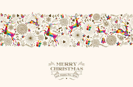 retro art: Vintage Kerstmis elementen Stock Illustratie