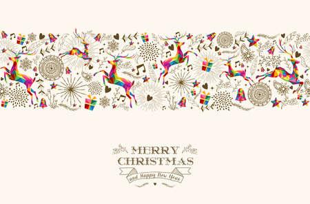 weihnachten vintage: Vintage Weihnachtselemente Illustration