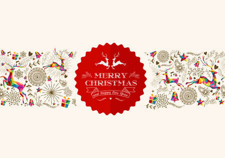 Vintage Christmas elements seamless pattern Vector