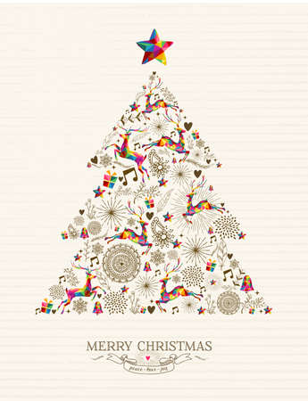 Vintage Christmas tree shape with colorful reindeer and retro label greeting card.