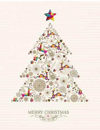 pascuas navideÑas: Forma Vintage árbol de Navidad con renos y colorida tarjeta de felicitación etiqueta retro. Vectores