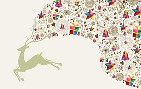 christmas star: Vintage biglietto di auguri di Natale, renne ed elementi colorful composizione.