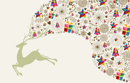 Vintage Christmas greeting card, reindeer and colorful elements composition. Ilustração
