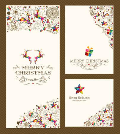 Merry Christmas vintage hand drawn elements greeting card set.