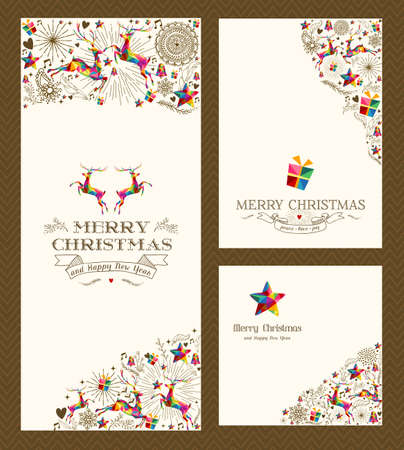 Merry Christmas vintage hand drawn elements greeting card set. Vector