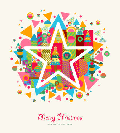 Merry Christmas colorful retro greeting card with star and abstract elements splash.
