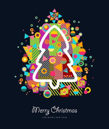 arty: Merry Christmas colorful retro greeting card with xmas tree and abstract elements splash.