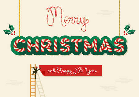 Xmas character works on Merry Christmas and Happy New Year billboards. Vector