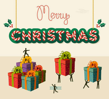 prepare: Xmas teamwork prepare gifts for Christmas business greeting card. Illustration