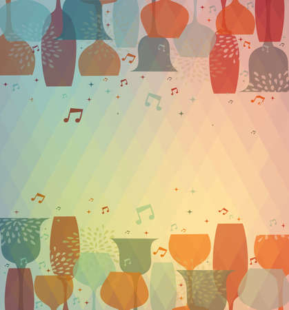 Multicolor transparency cocktail glass design background for menu cover, wine list or salad bar. EPS10 transparent vector file organized in layers for easy editing. Vector