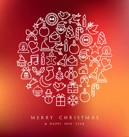 tree outline: Merry Christmas greeting card with line icons on circle shape. EPS10 vector file organized in layers for easy editing. Illustration