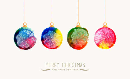 handmade graphic texture: Merry Christmas handmade watercolor baubles greeting card. EPS10 vector file organized in layers for easy editing.