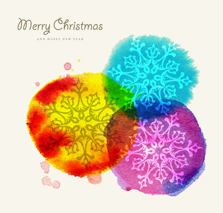 Merry Christmas greeting card colorful hand drawn with watercolor dot and snowflakes composition. EPS10 vector file organized in layers for easy editing. Vector