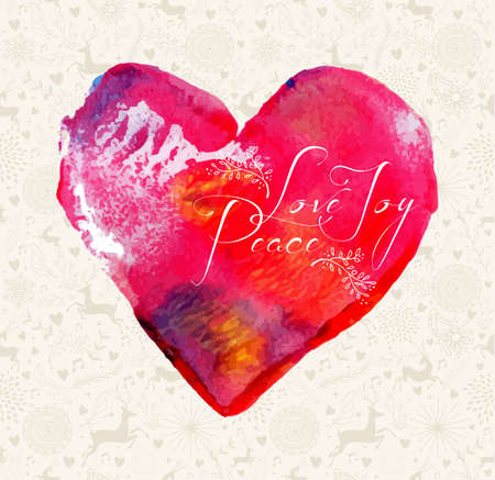 Merry Christmas love, peace, joy greeting card over colorful hand drawn watercolor heart illustration. EPS10 vector file organized in layers for easy editing. Vector