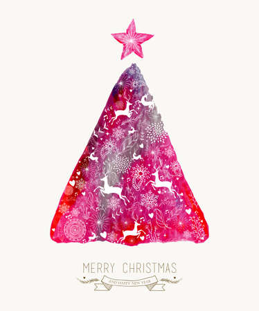 Merry Christmas  with colorful hand drawn watercolor pine tree greeting card. EPS10 vector file organized in layers for easy editing.