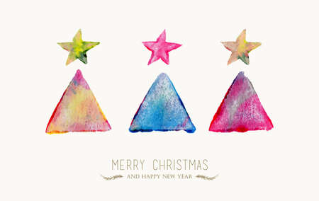 Merry Christmas greeting card with colorful hand drawn tree watercolor texture illustration. EPS10 vector file organized in layers for easy editing. Vector