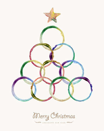 christmas watercolor: Merry Christmas greeting card with colorful circle hand drawn watercolor tree shape. EPS10 vector file organized in layers for easy editing. Illustration