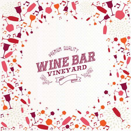 Vintage wijnbar label cocktail achtergrond ontwerp voor resto menu of wijngaard. EPS10 vector-bestand georganiseerd in lagen voor eenvoudige bewerking. Vector Illustratie