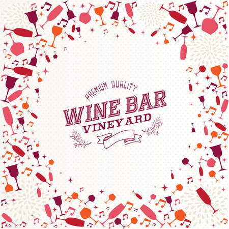 Vintage wine bar label cocktail background design for resto menu or vineyard. EPS10 vector file organized in layers for easy editing. Vector