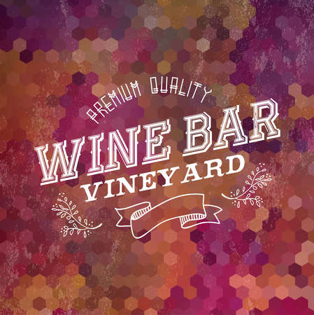 Wine bar vintage label illustration design for cover menu or list. EPS10 transparent vector file organized in layers for easy editing. Vector