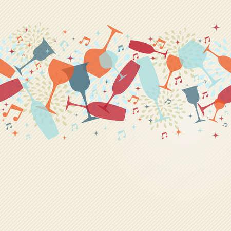 Trinken und Cocktailgläser nahtlose Muster Banner. Design for Briefe Menü, Weinkarte oder Restaurant-Karte. EPS10 transparente Vektor-Datei in den Schichten für das einfache Bearbeiten organisiert. Standard-Bild - 33004426