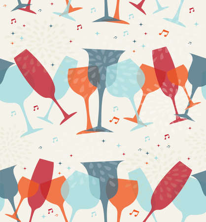 wine list: Diversity colors cocktail glass seamless pattern background. Design for cover menu, wine list or restaurant card. EPS10 transparent vector file organized in layers for easy editing.