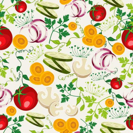 유기농 야채 메뉴 또는 샐러드 바 다채로운 건강 식품 원활한 패턴 배경입니다. 쉽게 편집 할 레이어로 구성 EPS10 벡터 파일입니다.