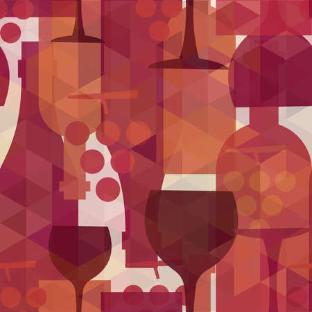 lounge bar: Wine and drink abstract seamless pattern illustration background with bottles, glasses and grapes.  EPS10 transparent vector file organized in layers for easy editing.