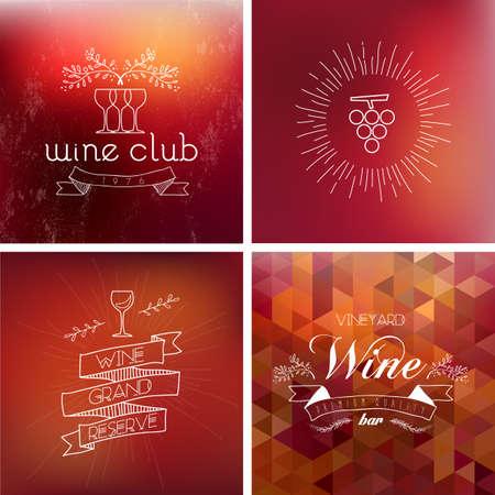 vintage etiket: Wine bar vintage label illustration background set. EPS10 transparent vector file organized in layers for easy editing.