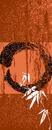 yinyang: Zen circle and bamboo silhouette over vintage texture poster background. EPS10 vector file organized in layers for easy editing. Illustration