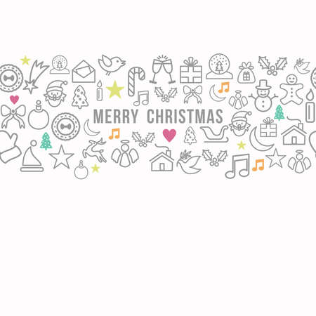Merry Christmas greeting card background with clean line icons seamless pattern illustration. EPS10 vector file organized in layers for easy editing. Vector