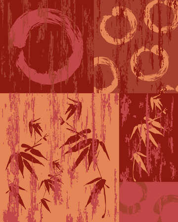 enso: Zen circle and bamboo silhouette over vintage wood patchwork poster background. Useful for decorative art or textile print pattern.