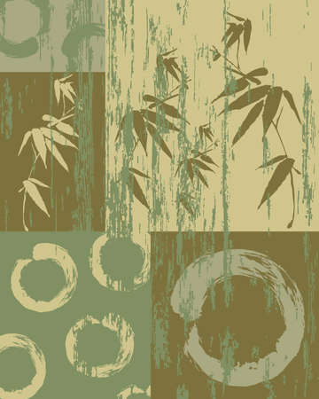 Zen circle and bamboo silhouette over vintage green texture poster background. Decorative oriental art patchwork. Vector