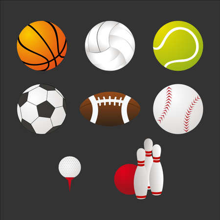 Sports balls and equipment icons set. Elements for web and apps design. EPS10 vector file organized in layers for easy editing.
