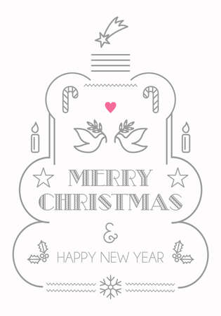 basic candy: Merry Christmas greeting card with outline style illustration. Hipster trendy style season background design for brochure, presentation and website use.