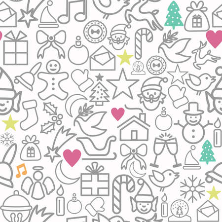 christmas wrapping: Merry Christmas wrapping paper seamless pattern background with line icons set. EPS10 vector file organized in layers for easy editing.