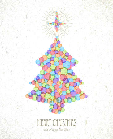 christmas watercolor: Merry Christmas watercolor stains xmas tree shape greeting card background. EPS10 vector file organized in layers for easy editing. Illustration