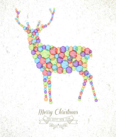 christmas watercolor: Merry Christmas watercolor stains reindeer shape greeting card background. EPS10 vector file organized in layers for easy editing. Illustration