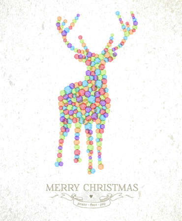 Merry Christmas watercolor spots reindeer shape greeting card background. EPS10 vector file organized in layers for easy editing. Vector