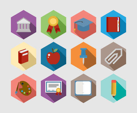 Flat icons concept design set for Education and Back to school communication. Website and app elements. EPS10 vector file organized in layers for easy editing. Vector