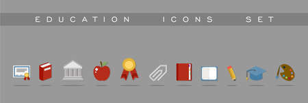Set of flat design concept icons for Education and Back to school. Website and app elements. EPS10 vector file organized in layers for easy editing. Vector