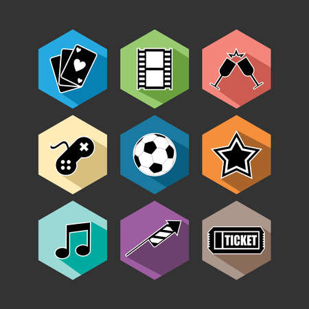 Set of flat design concept icons for entertainment. Elements for web and apps design. EPS10 vector file organized in layers for easy editing. Vector