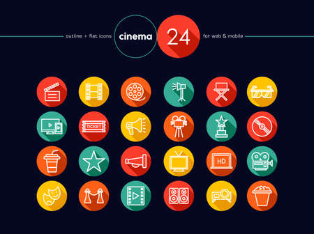 Movie and Cinema colorful flat icons set for web and mobile app. EPS10 vector file organized in layers for easy editing. Vector