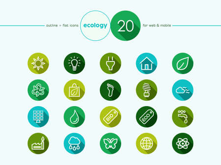 Go green environment and ecology outline flat icons set for web and mobile app. EPS10 vector file organized in layers for easy editing.