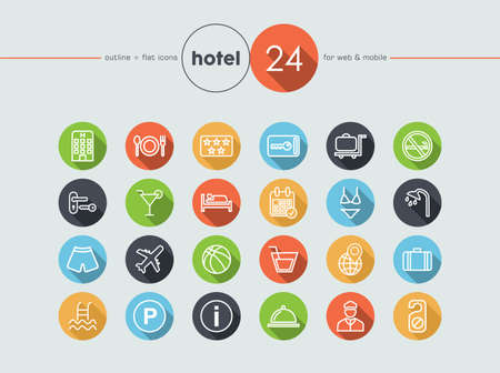 keycard: Hotel colorful flat icons set for web and mobile app. EPS10 vector file organized in layers for easy editing.