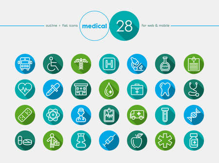 healthcare professional: Medical healthcare colorful flat icons set for web and mobile app. EPS10 vector file organized in layers for easy editing.