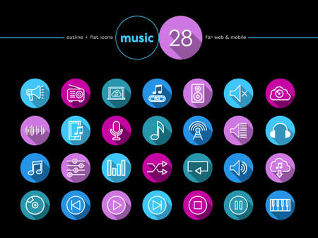Music colorful flat icons set for web and mobile app. EPS10 vector file organized in layers for easy editing.