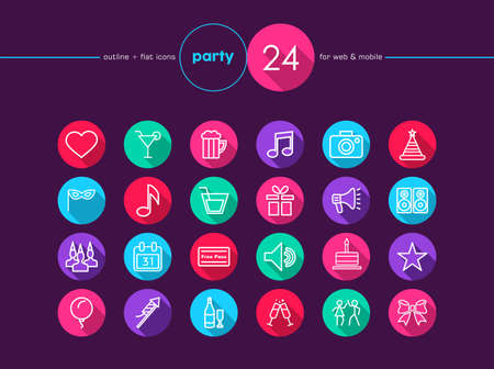 Party and birthday colorful flat icons set for web and mobile app. EPS10 vector file organized in layers for easy editing. Vector