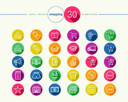 Shopping colorful flat icons set for web and mobile app. EPS10 vector file organized in layers for easy editing. Vector