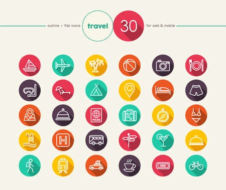 Travel colorful flat icons set for web and mobile app. EPS10 vector file organized in layers for easy editing. Zdjęcie Seryjne - 33524271